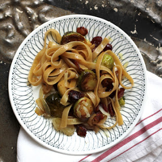 Fettuccine with Brussels Sprouts, Cranberries, and Caramelized Onion