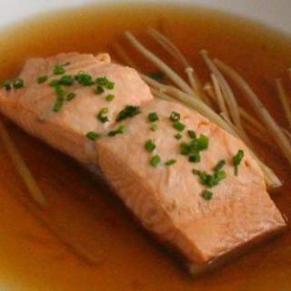 Salmon Poached in Dashi