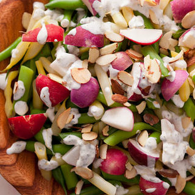 Radish and Wax Bean Salad with Crème Fraîche Dressing