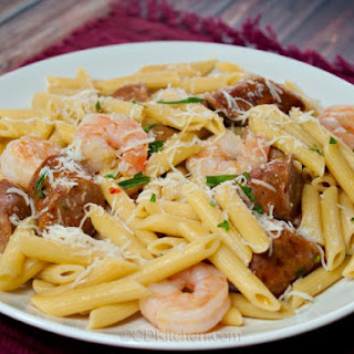 Spicy Italian Sausage with Shrimp and Pasta