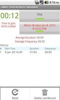 Screenshot of Labor Contractions Calculator