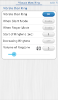Screenshot of Vibrate then Ring with Flash