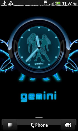 GEMINI - Neon Blue Clock