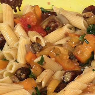 Penne With Roasted Eggplant, Chile and Mint