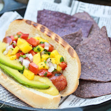 Hawaiian-Style Hot Dogs with Mango Salsa and Pineapple Mustard