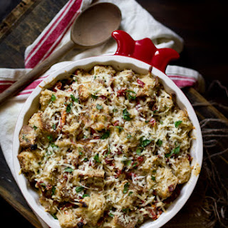 Savory Bread Pudding with Aged Gouda & Cheddar Cheese, Plus a Sun-Dried Tomato Giveaway