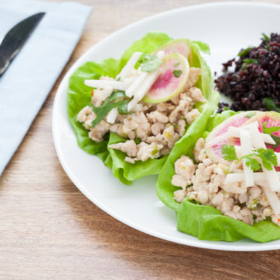 Asian Chicken Lettuce Wraps with Forbidden Rice