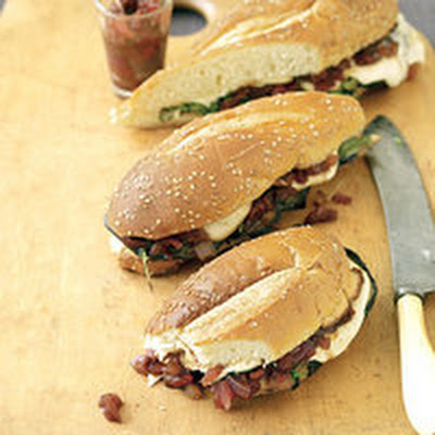 Grilled Eggplant Subs with Mozzarella and Tomato Jam