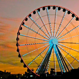 Ferris Wheel Sunset by Eve Spring - City,  Street & Park  Street Scenes ( sunset, street, beach, sunrise, myrtle beach, ferris wheel,  )