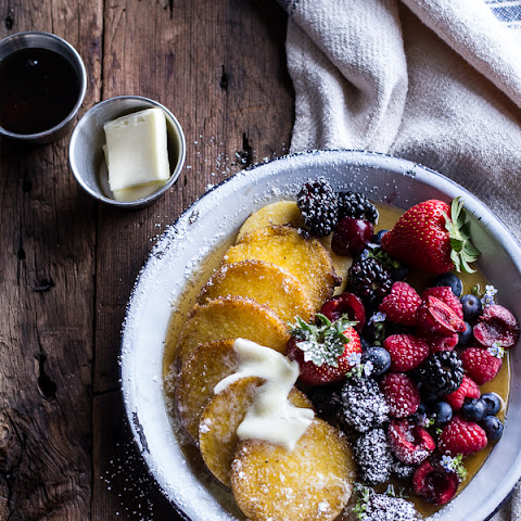 Sweet Buttered Polenta Pancakes with Fresh Summer Berries.