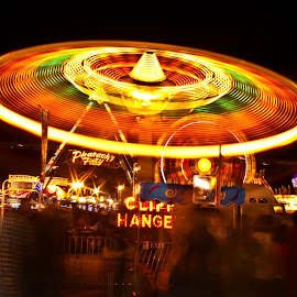 Cliff Hanger by Phillip Campbell - Abstract Light Painting ( ride, amusement, night, trails, light, fair,  )