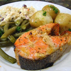 Grilled Limoncello Salmon Steaks