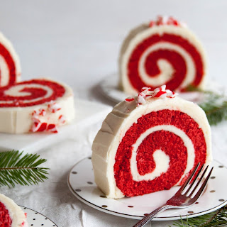 Peppermint Red Velvet Cake Roll