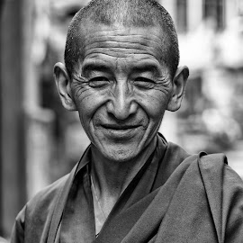 Friendly monk by Amir Adham - People Portraits of Men ( blackandwhite, monk, friendly, portrait, friendlymonk,  )