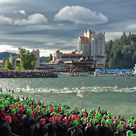 Ironman CDA 2014 Swim Start by Tiffany Ann - Sports & Fitness Swimming ( swim, rollingstart, ironman, swimming )