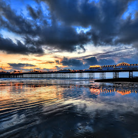Brighton Pier by Mark Bond - Landscapes Sunsets & Sunrises ( water, sand, reflection, brighton, cloud, pier, beach,  )