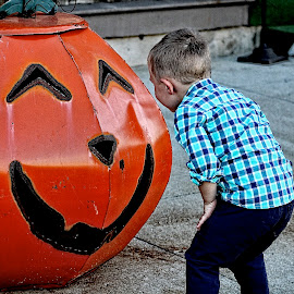 Giant Pumpkin by Matthew Sisk - Babies & Children Toddlers ( child, pumpkin, fall, cute, toddler )