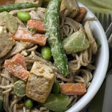 Peanut Noodles with Gingered Vegetables and Tofu