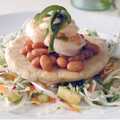 Green Chile Sopes with Chipotle Mayonnaise, Shrimp, and Pineapple Slaw