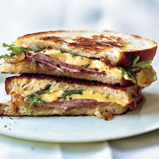 Grilled Ham and Gouda Sandwiches with Frisée and Caramelized Onions