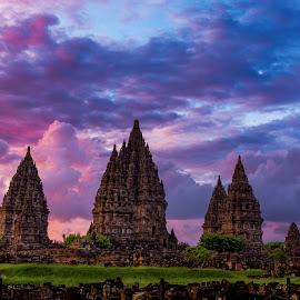 Prambanan at dusk by Safrudin Fathan - Buildings & Architecture Public & Historical ( temple, hindu, sunset, cloud, dusk, prambanan )