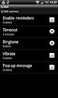 Screenshot of Q-SMS : missed SMS alert.