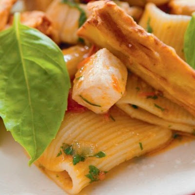 Marc Vetri's Rigatoni with Swordfish, Tomato, and Eggplant Fries