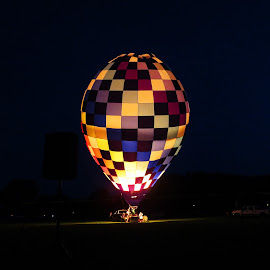 Night Flash by Lu Brown - Transportation Other ( picture, hot air, hot air balloon, photograph, art, balloon races, night, balloon, light, photo, photography,  )