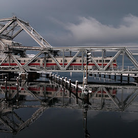 Skansenbrua... by Turid Bjørnsen - Transportation Trains ( water, clouds, sky, railway, snow, train, bridge, construction,  )