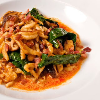Spaetzle, Wild Mushroom & Broccoli Rabb with Thai Yellow Curry Sauce