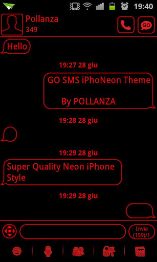 GO SMS Theme Messages Red