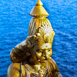 Eternal Worshiping at edge of the Sea by Gihan Chamara - Buildings & Architecture Statues & Monuments ( statue, sri lanka, king, worship, blue, orange. color,  )
