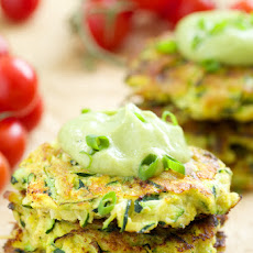 Zucchini Fritters with Avocado Crema