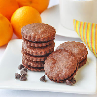 Chocolate Orange Shortbread Sandwich Cookies