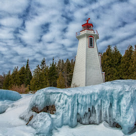 winter in tobemory by Steve Donnelly - Buildings & Architecture Other Exteriors ( winter, ice, lighthouse )