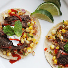 Easy Skillet Steak Tacos With Charred Corn and Sriracha