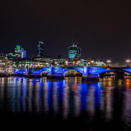 London River View by Sheldon Anderson - Buildings & Architecture Public & Historical ( night photography, london, 2014, dramatic, night, scenic, bridge, nights capes, river,  )