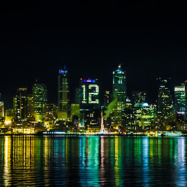 12th Man Building by Olivia Valdes - City,  Street & Park  Skylines ( washington, skyline, space needle, superbowl, seattle, seahawks, nighttime, night, 12th man, century link, waterfront, city )