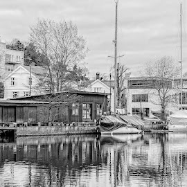 by Finn Christiansen - Buildings & Architecture Homes ( water, old house, houses, black and white, autumn, boat )
