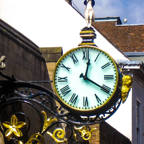 Street Clock in York by Del Candler - Artistic Objects Antiques ( england, old, ornate, clock, time piece, wrought iron, york, gold, historic, object )