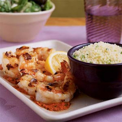 Shrimp Skewers with Romesco Sauce