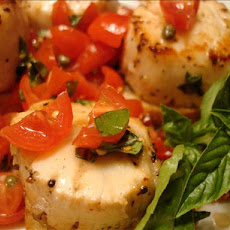 Grilled Scallops Topped With Bruschetta on Toast