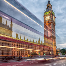 Big Ben Light Trails  by Ellen Yeates - City,  Street & Park  Street Scenes ( canon, ride, hot air balloon, bus, europe, mountain, aksaray, cappadocia chimneys, valley, istanbul, cave, trkiye, hatti, sky, kapadokya, formations, taurus mountains, trip, nevşehir, rocks, sites, pasabaglari, ellen yeates, turkism, tourism, balloon, overseas, turkish, göreme national park and the rock sites of cappadocia, tourist, national park, vacation, avanos, voyage, goreme, cave house, turkey, historical, tour, cappadocia, middle east )