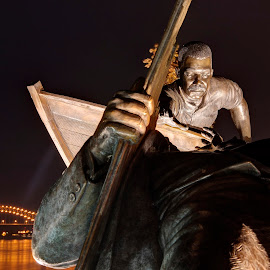 The Rescue by Ajit Pillai - City,  Street & Park  City Parks ( statue, night, tom lee, bridge, river,  )
