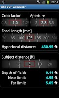 Screenshot of Vink DOF Calculator