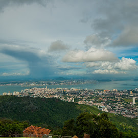 Penang,Malaysia, Landscape by Yasser Abusen - City,  Street & Park  Skylines ( cloud formations, clouds, greens, blue sky, blue, clouds and sea, cloudy, cloudscape, ocean, landscape )