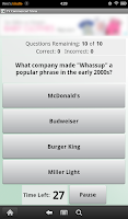 Screenshot of TV Commercials Trivia
