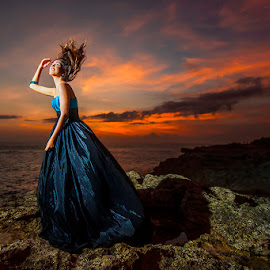 Fire On by Amin Basyir Supatra - People Fashion ( bali, fashion, red, sky, girl, blue, sunset, beautiful, beauty, smile, portrait )