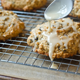 Glazed Oatmeal Maple Scones with Pecans & Currants