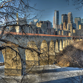 Stone Arch Sunrise by Dave Knapp - City,  Street & Park  Skylines